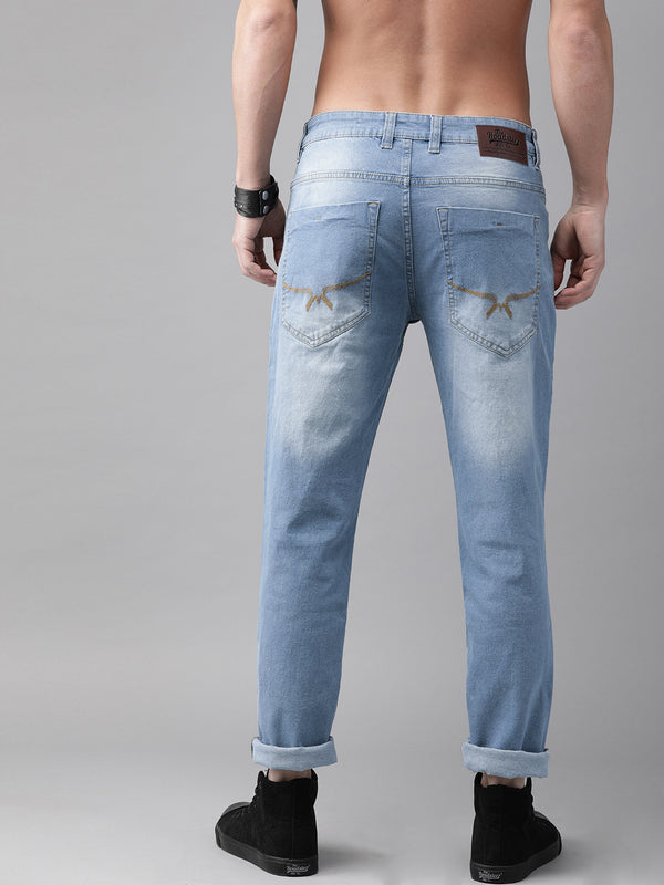 Roadster Men Blue Slim Tapered Fit Mid-Rise Low Distress Stretchable Jeans