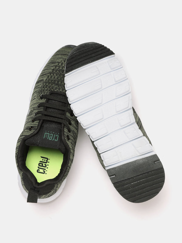 Crew STREET Men Olive Green and Black Self-Striped Walking Shoes