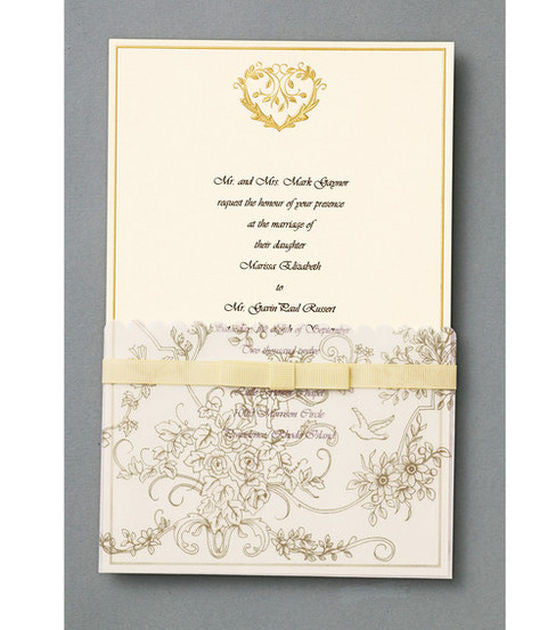 Wilton 25 ct Gold Wedding Toile Invitation Kit Clickprint