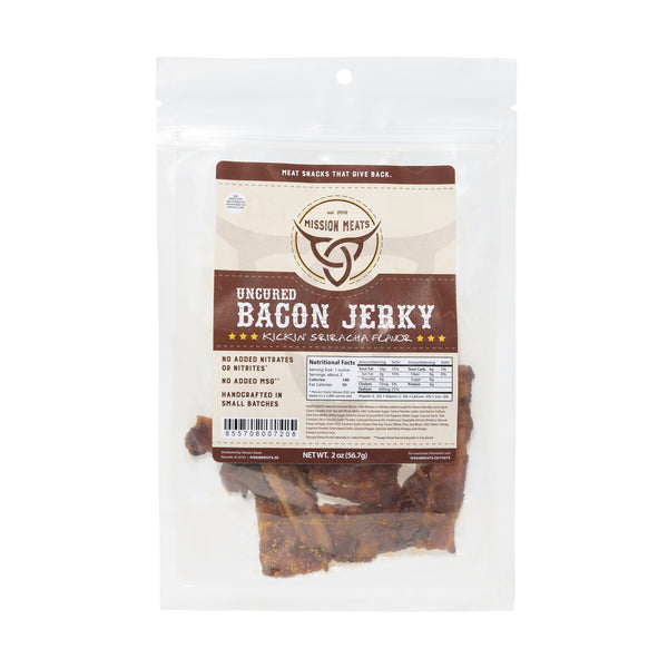 Mission Meats Sriracha Bacon Jerky - Single pack BacS1