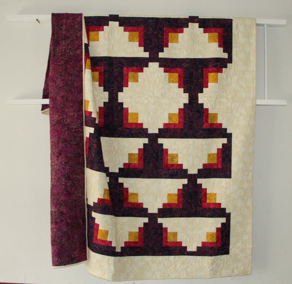 Marrackech queen size quilt made with Bali fabrics