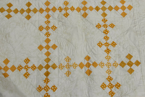 Urban Amish Double Ninepatch queen size quilt in mustard yellow and cream