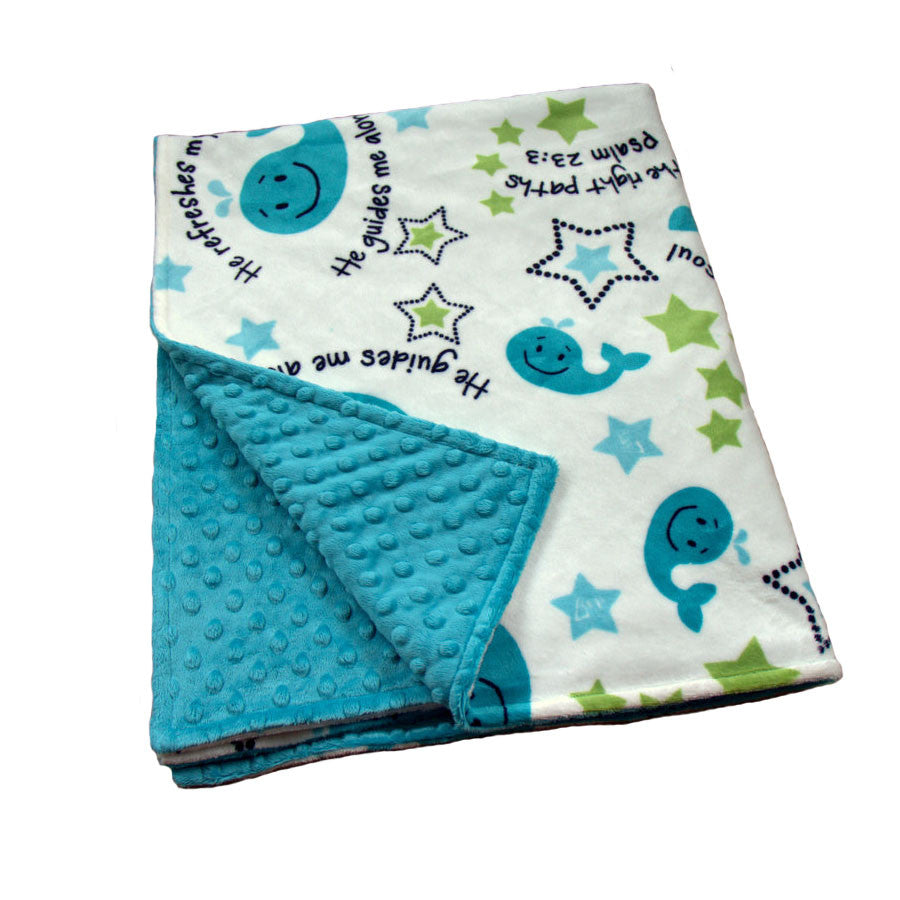 Whales Tale baby blanket with Teal backing