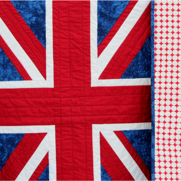 British Flag lap size quilt in royal blue, red, and white