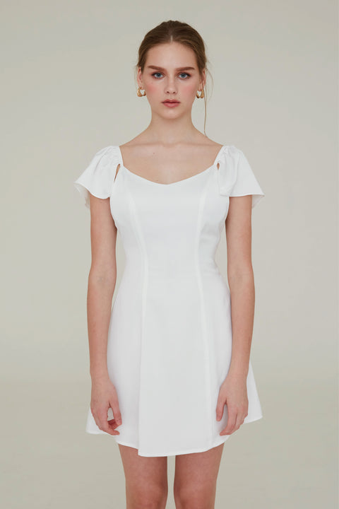 Promise me chiffon dress in white