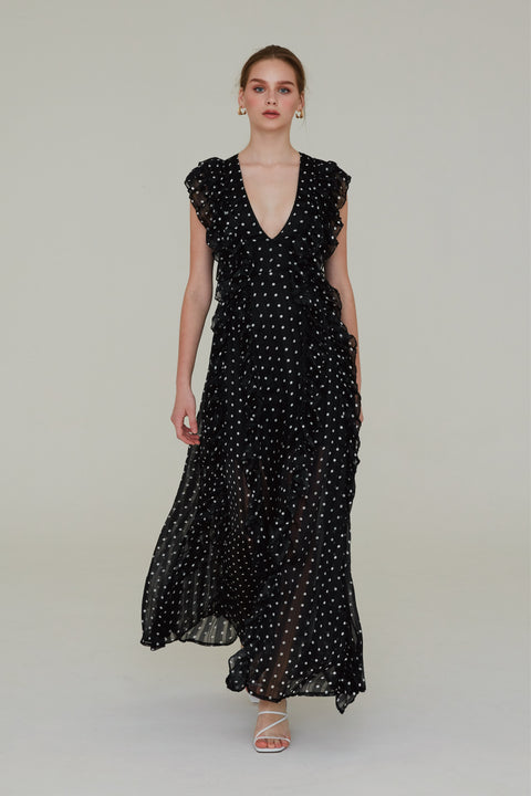 (Pre-Order) Anything but love polka dots chiffon maxi dress in black