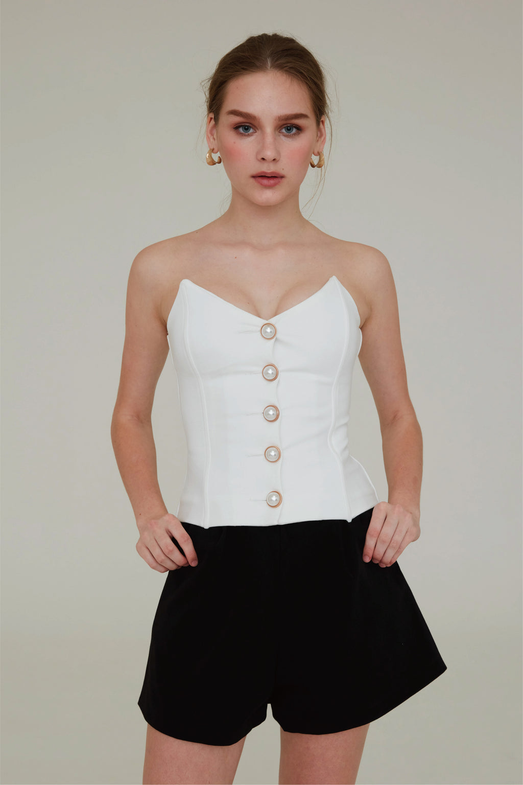 Take it off pearl decor top in white