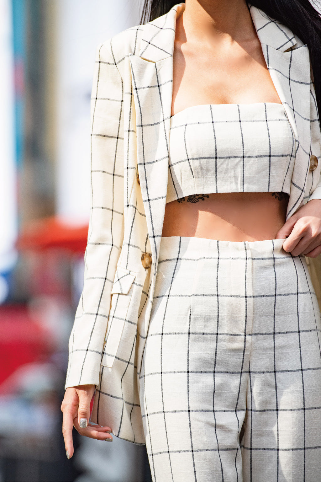 Times Square plaid bra in beige