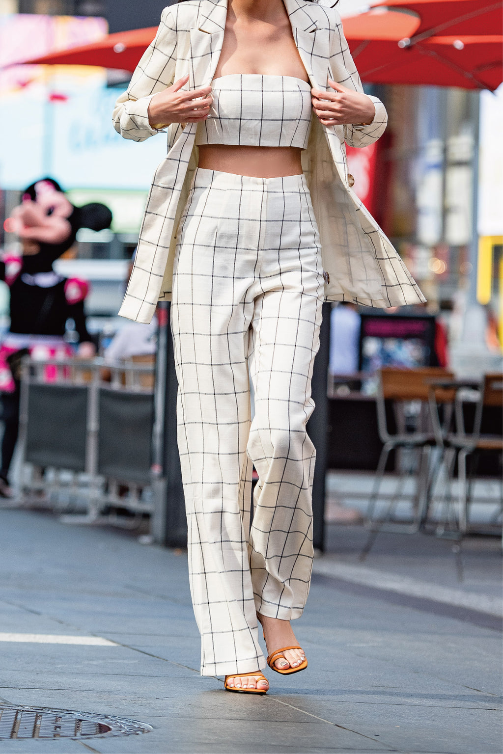 Times Square plaid flared pants in beige