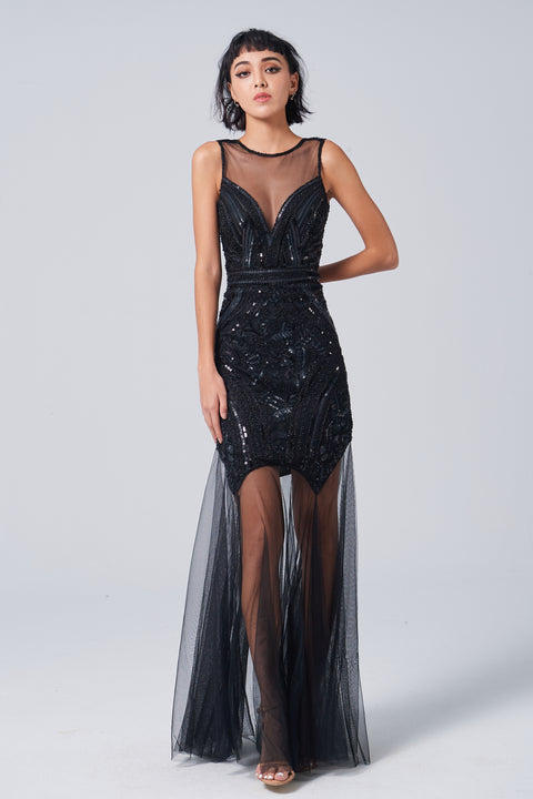 LABEL black sequin evening dress