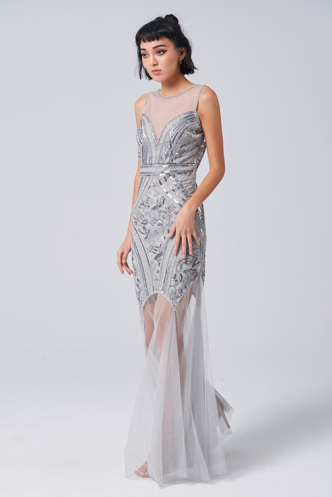 Party time grey sequin evening dress