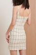 Times Square plaid dress in beige