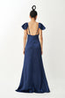 Make it happen silky gown (White /Royal blue)