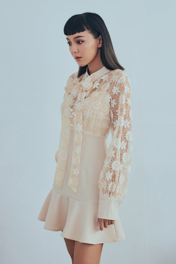 Out of the dark flower embroidery dress in beige