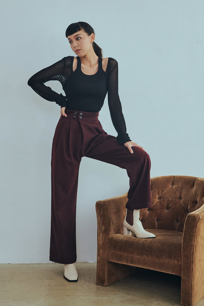 Leave your last words high waisted pants in burgundy
