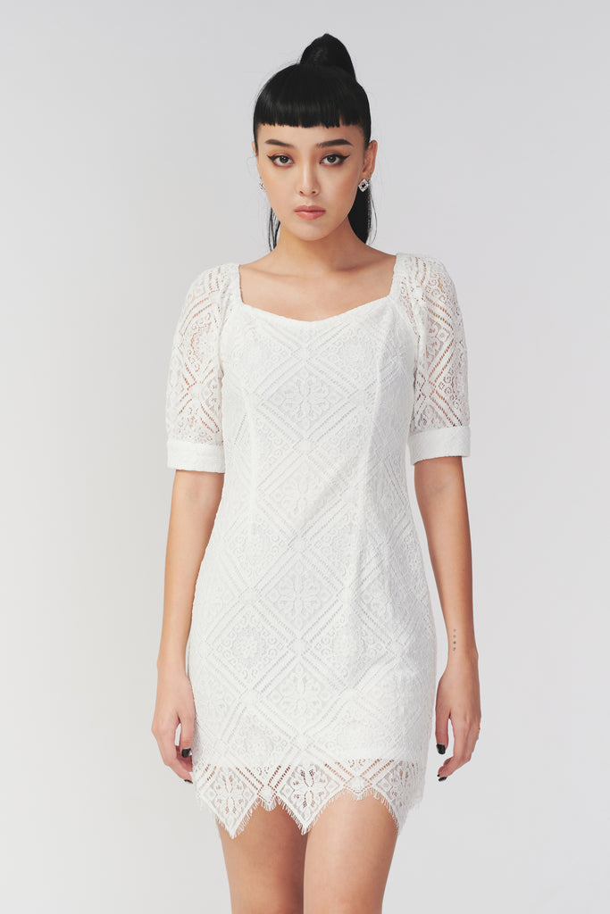 Welcome to the party lace dress in white
