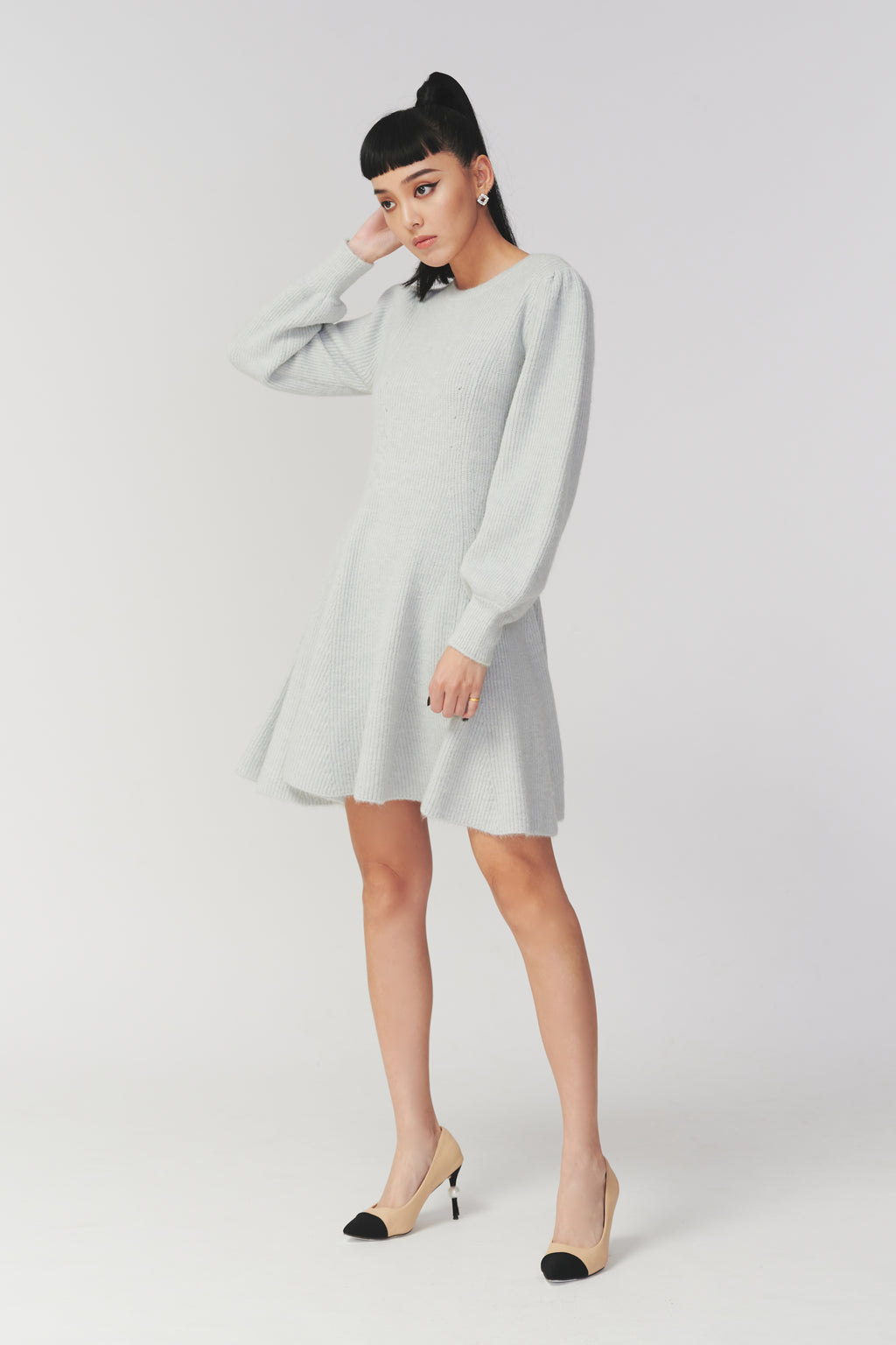 You're my fav puffy sleeves knitted dress in grey