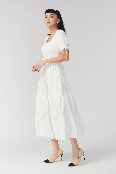Pure joy linen midi dress in white