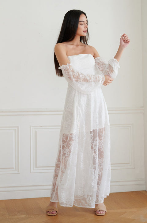 Hold on to you lace maxi dress in white