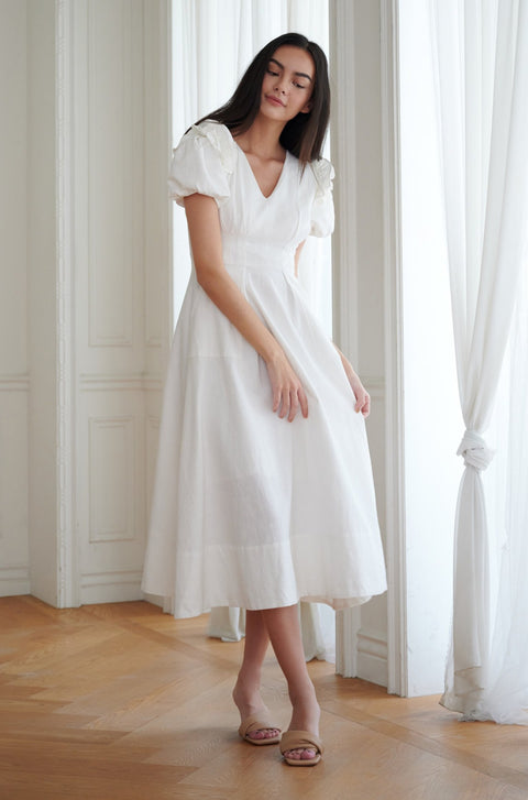 Because of you linen midi dress in white