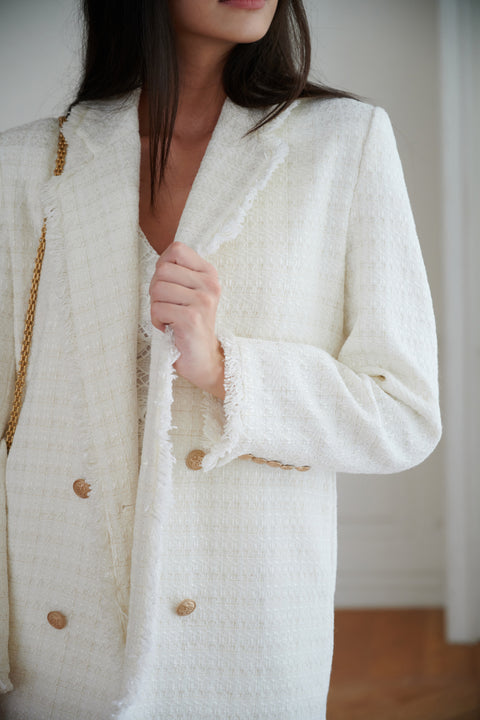 Gossip girl oversize tweed blazer in white
