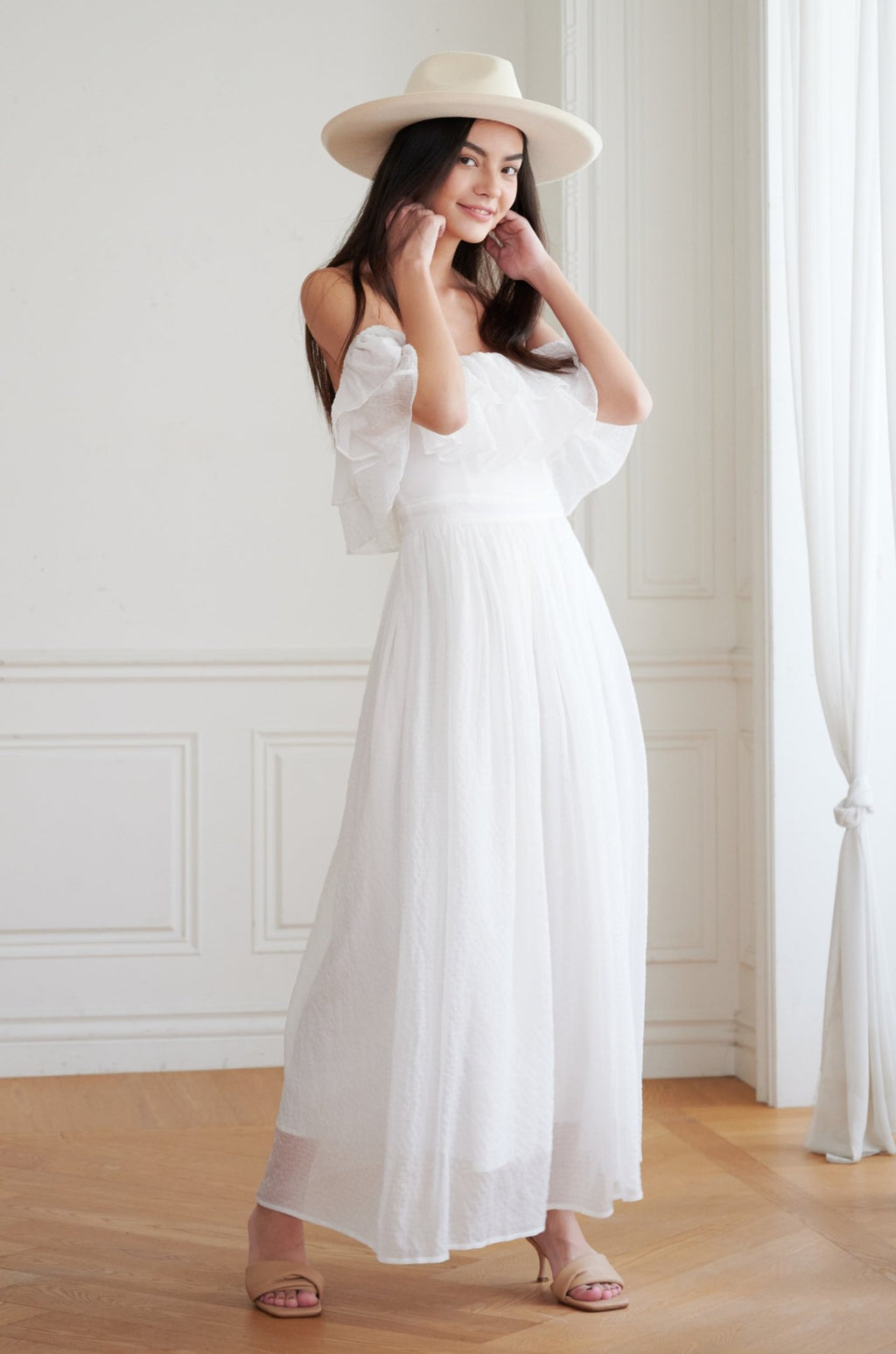 Sweeter than you off shoulder maxi dress in white (with Belt)