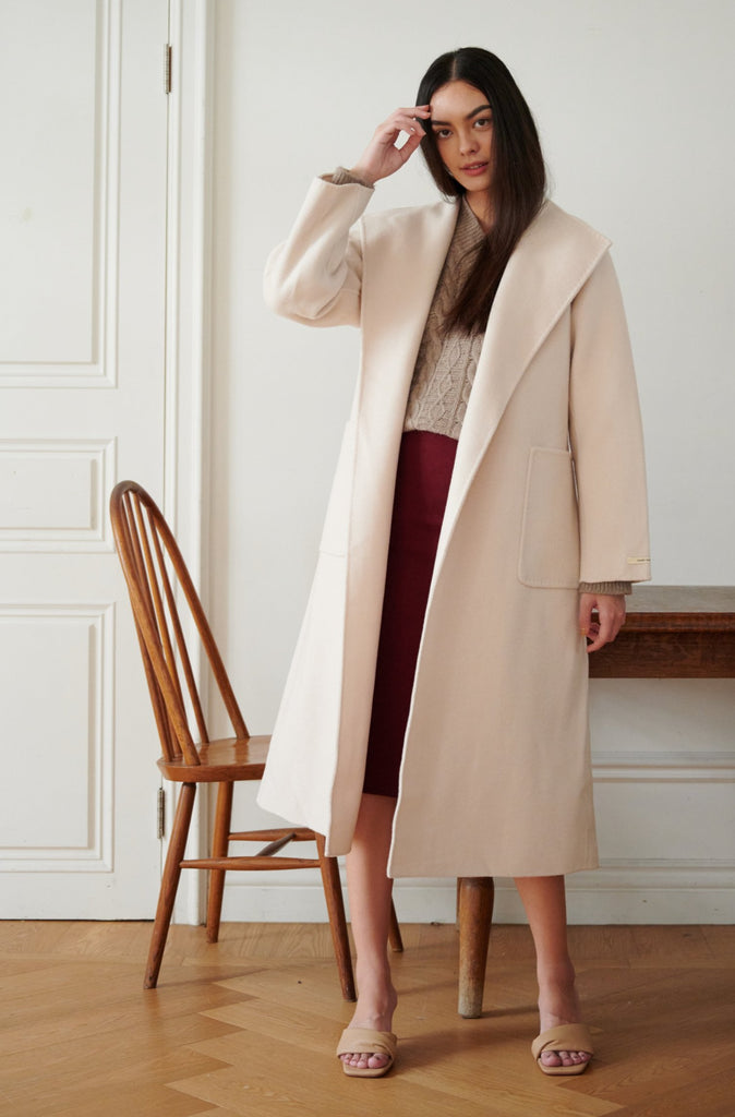 Counting the days wool blend coat in cream