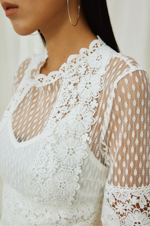 Think about me lace dress in white