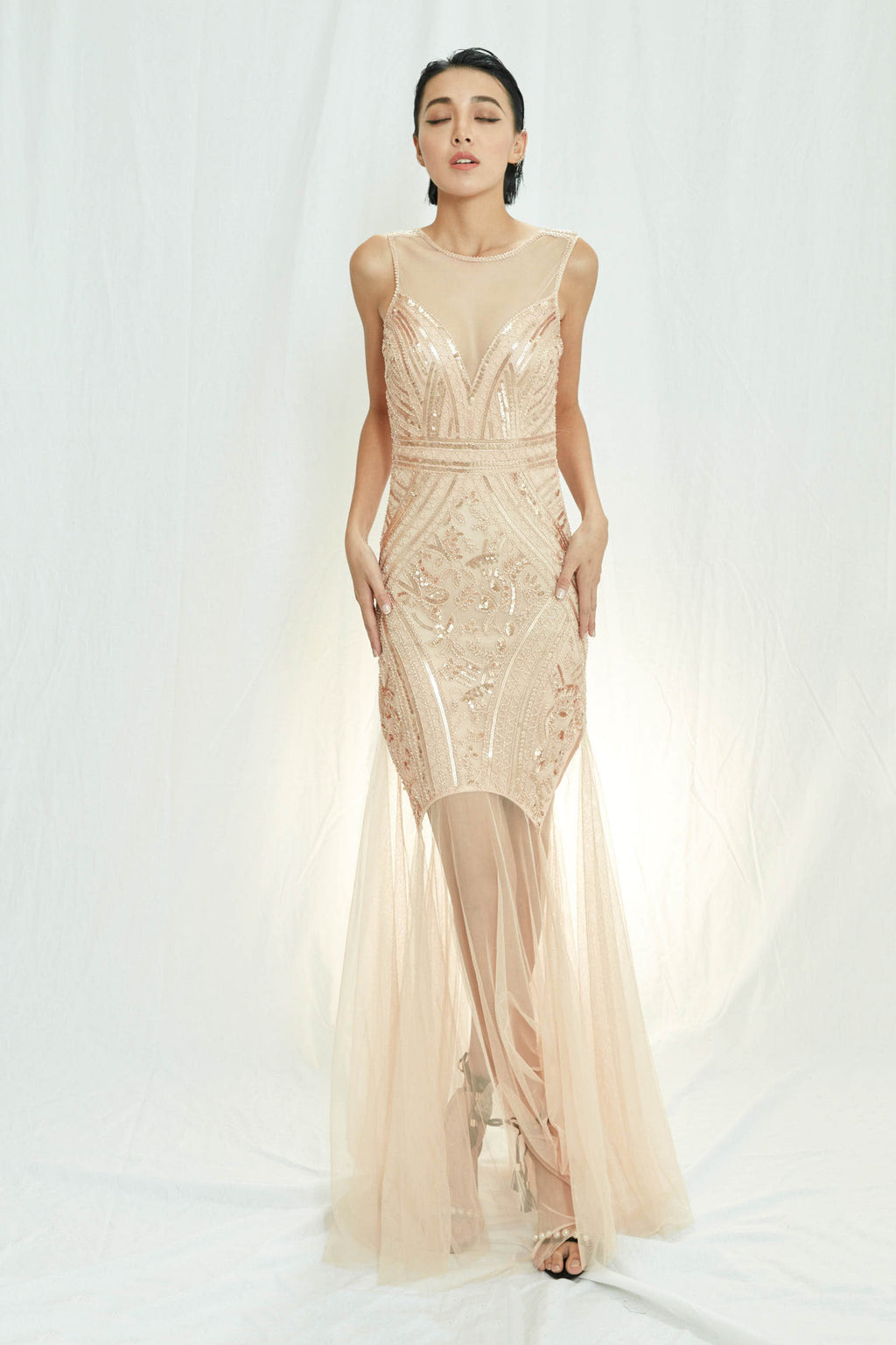 Party time rosegold sequin evening dress