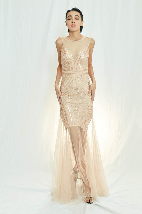 LABEL rosegold sequin evening dress