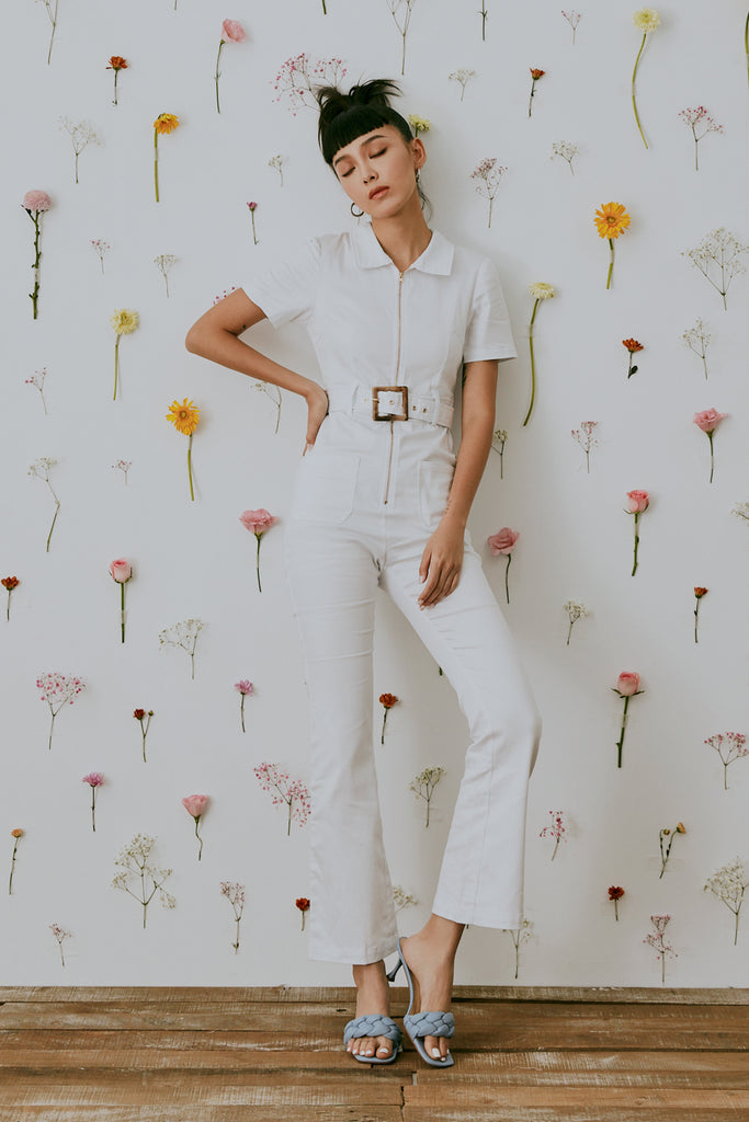 80's girl jumpsuits in white