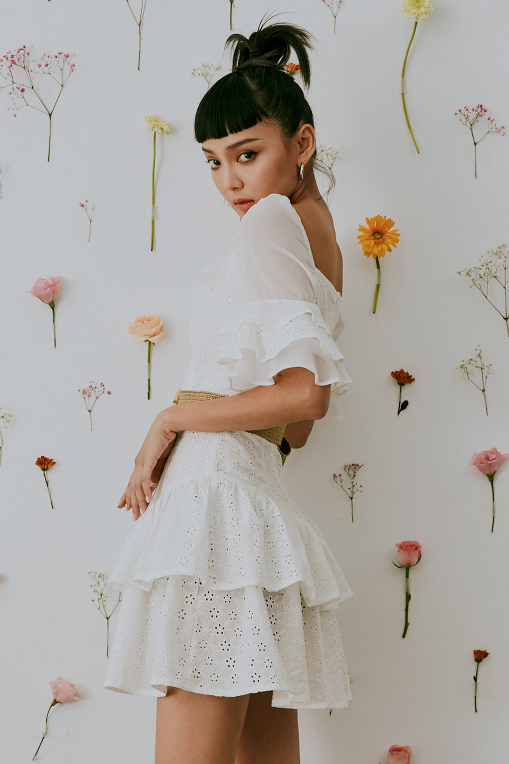 Golden hour lace dress in white with belt