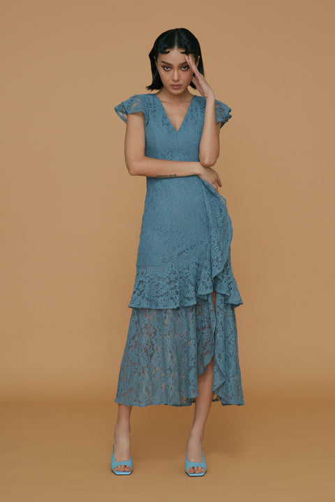 A love letter lace dress in blue
