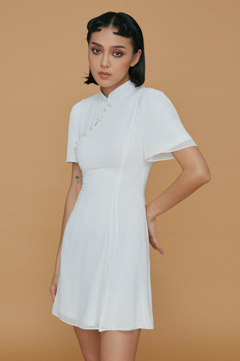Let's get married chiffon dress in white