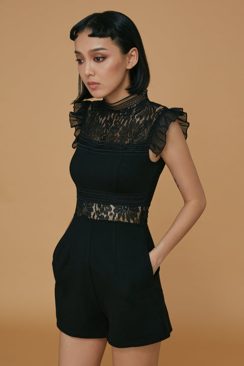 All eyes on me lace playsuits in black