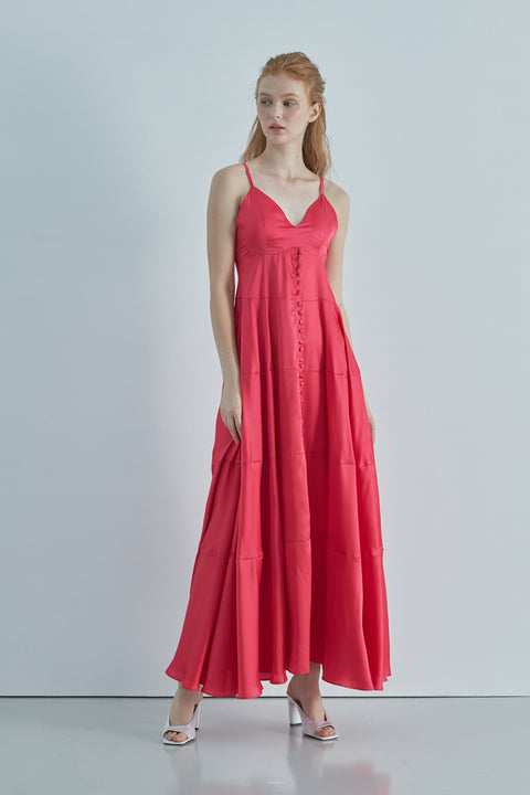 Swimming in flowers silky maxi dress in hot pink