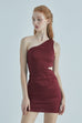 Come back to me one shoulder zebra print dress in burgundy