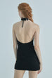Vintage vibe halter dress in black