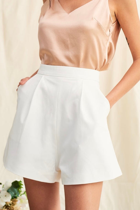 Love at first sight high waisted shorts in white