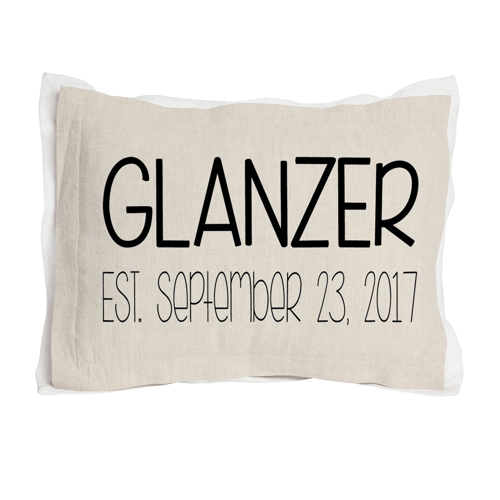 Custom Wedding Name and Established Date Pillow-Two Layers of Fabric brown front
