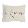 I Love Us pillow with black vinyl