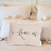 I Love Us pillow on Brown