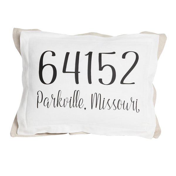 2 layer pillow with white front-zip code pillow