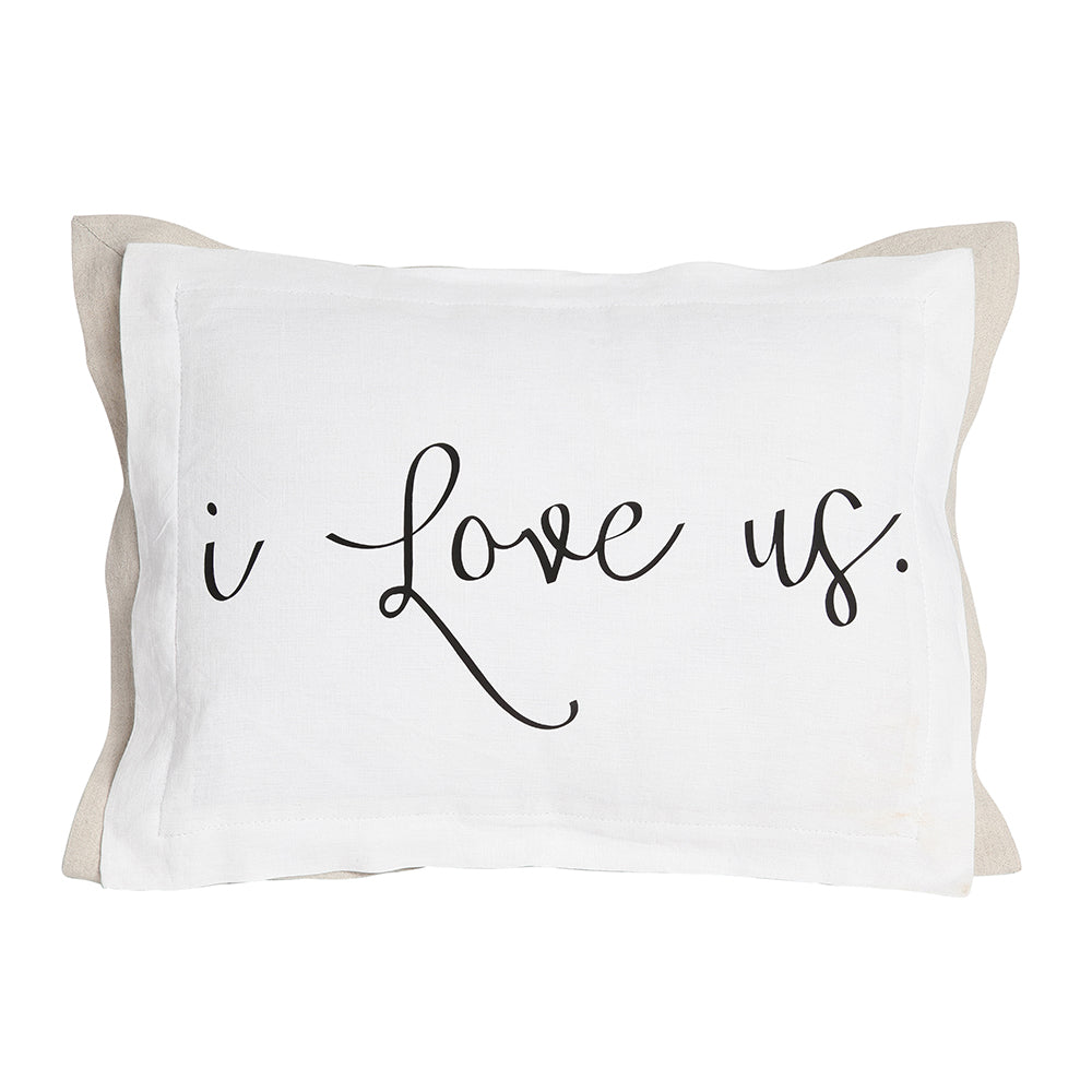 I Love Us pillow on white
