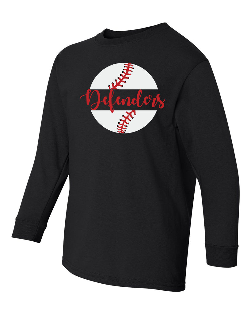 Defenders Baseball New 2019 Spirit Wear Fruit of the Loom Long Sleeve T-shirt