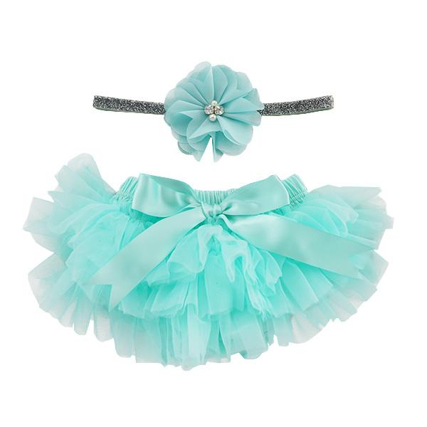 Ruffle Tutu Bloomer & Headband Set in Aqua