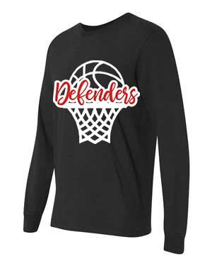 DefendersBasketball Net Spirit Wear with Heart-Fruit of the Loom Long Sleeve T-shirt