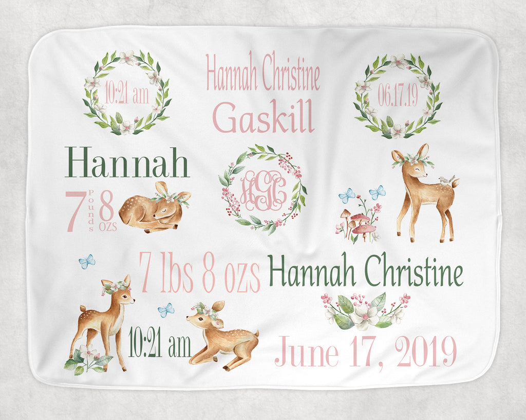 Personalized Baby Deer Theme Baby Blanket for Baby Girl Includes Birth Information