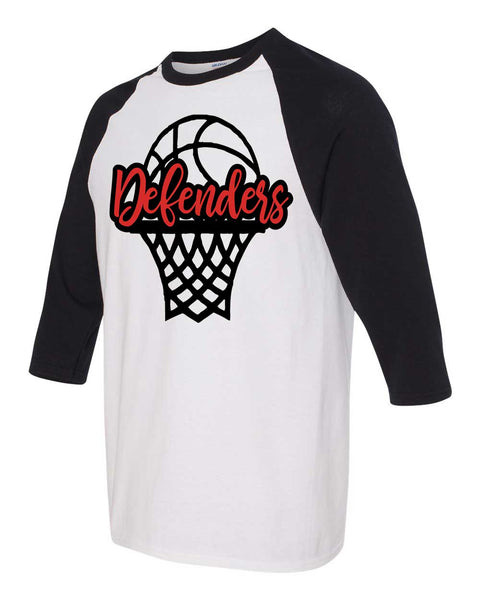 Defenders Basketball Net Spirit Wear-Gildan - Youth Heavy Cotton Three-Quarter Raglan Sleeve Baseball T-Shirt