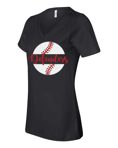 Defenders New 2019 Baseball Spirit Wear  T-Shirt -Bella Canvas Women's V-Neck